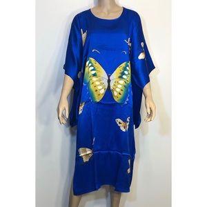 Butterfly 100% Silk Kimono Dress Sz L NWOT